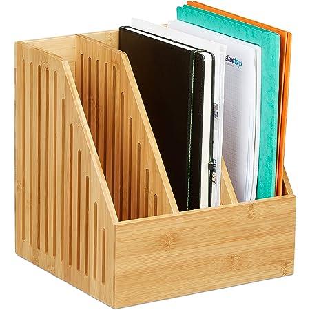 Relaxdays 10028839 Porte-revues 3 Compartiments, Trieur Documents Bambou, Bureau Format A4 journaux, 30 x 28 x 26,5 cm, Nature, 1 élément
