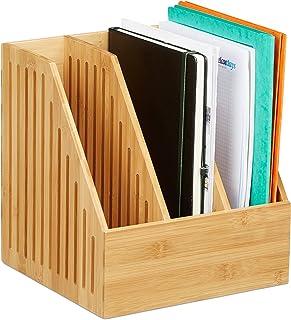 Relaxdays 10028839 Porte-revues 3 Compartiments, Trieur Documents Bambou, Bureau Format A4 journaux, 30 x 28 x 26,5 cm, Na...