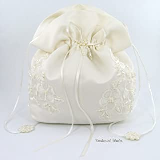 Satin Bridal Wedding Small Money Bag with Pearl-Embellished Floral Lace for Dollar Dance, Bridal Purse, and Other Special Occasions #E1DEDBiv (IVORY)