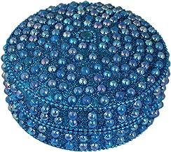 SKAVIJ Metal and Bead Handmade Decorative Jewelry Gift Box (3.5 Inch, Turquoise)