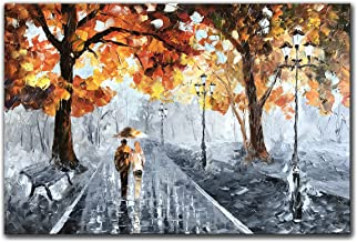 Zoinart Abstract Decorative Oil Paintings 24x36inch 100% Hand Painted Romantic Lovers Stroll In Rain Modern Canvas Wall Art Yellow Artwork Wall Decor Home Decorations Ready to Hang