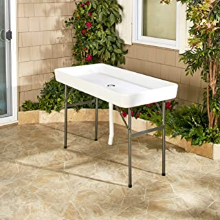 Fill and Chill Ice Cooler Table with Drainage Tube - Easy Collapse