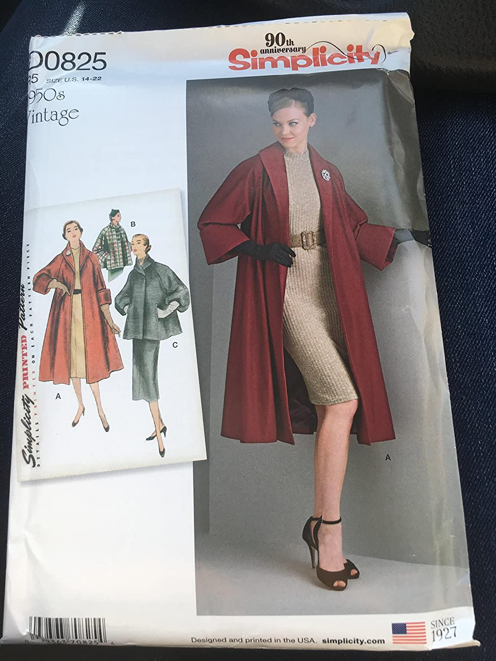 Simplicity Sewing Pattern D0825 / 8509 - Misses Vintage Coat or Jacket, R5(14-16-18-20-22)