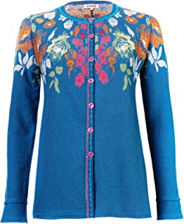 IVKO Short Sweater Jacket w Front Button, Rose Design, Petrol Green