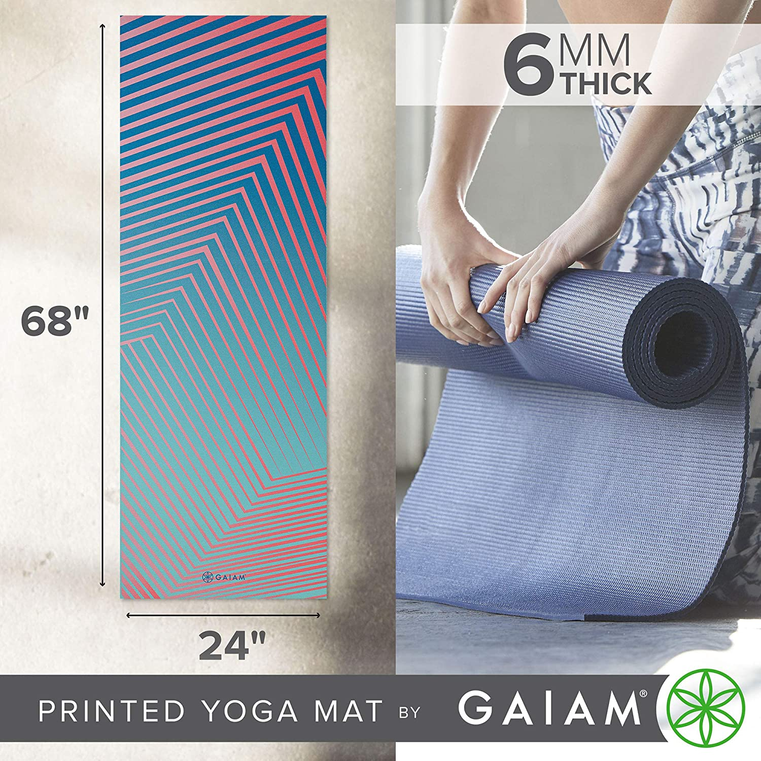 Premium 6mm Print Extra Thick Non Slip Exercise /& Fitness Mat for All Types of Yoga Gaiam Yoga Mat Pilates /& Floor Workouts 68 x 24 x 6mm