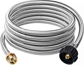 DOZYANT 12 Feet Stainless Steel Braided Propane Adapter Hose 1 lb to 20 lb Converter Replacement for QCC1/Type1 Tank Connects 1 LB Bulk Portable Appliance to 20 lb Propane Tank - Safety Certified