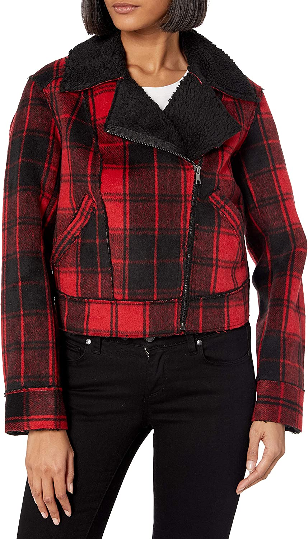 Jessica Simpson Women's Fleetwood Sherpa Plaid Moto Jacket