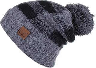 ef5e34f95538ae C.C Hatsandscarf Exclusives Buffalo Check Pattern Fuzzy Lined Knit Pom  Beanie Hat (HAT-55