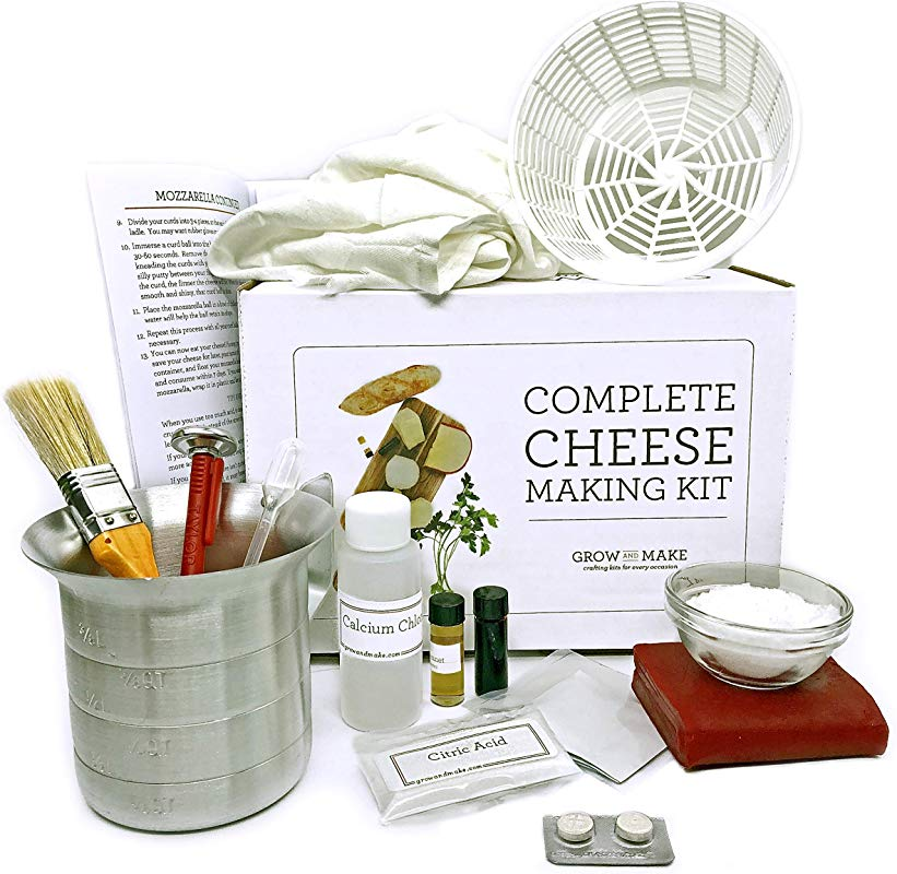 Grow And Make DIY Complete Cheese Making Kit Learn How To Make Mozzarella Ricotta Colby Gouda And Monterey Jack