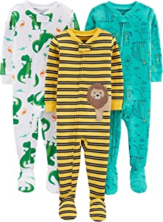 Baby and Toddler Boys' 3-Pack Snug Fit Footed Cotton Pajamas