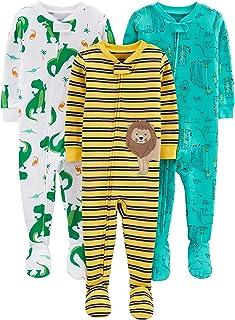 Boys' 3-Pack Snug Fit Footed Cotton Pajamas