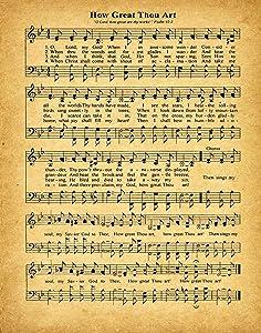 How Great Thou Art Music Sheet Poster Music Sheet Print Music Sheet Print Song Sheet Lyrics Poster Lyrics Wall Art Music Poster Music Print (8 x 10, Vintage)