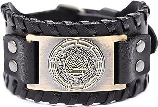 تيمر خمر رمز أودين الجلود سوار العقدة تسجيل 24 العدائين النرويج للرجال مجوهرات التعويذة