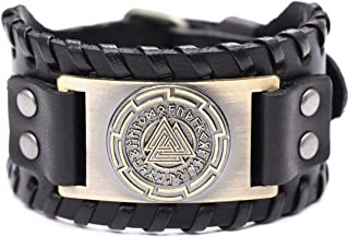 TEAMER Vintage Odin's Symbol Leather Bracelet Valknut Sign 24 Norse Runes for Men Amulet Jewelry