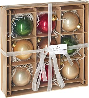 kat + annie 9 Count Rustic Christmas Ornament, Red, Green, Gold