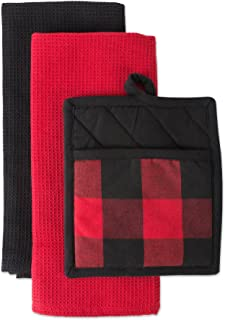 DII CAMZ10892 Cotton Buffalo Check Plaid Gift Set, Machine Washable, Perfect for Everyday Kitchen Cooking and Baking, Dish...
