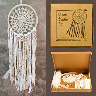 Mandala Life ART DIY Dream Catcher Kit 8x25 inches - Make Your Own Bohemian Wall Hanging with All-Natural Materials - Creative Activity Set