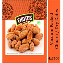 Exotes, Yellow Dry Dates Chuara Vacuum Packed Pouch g Pack of 4x250s, Natural, 1000 Gram