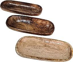 صواني طبق تقديم خشبية متينة مستطيلة الشكل مصنوعة يدويًا بنمط الخشب الحبيبي مجموعة من 3 أدوات طعام بنية
