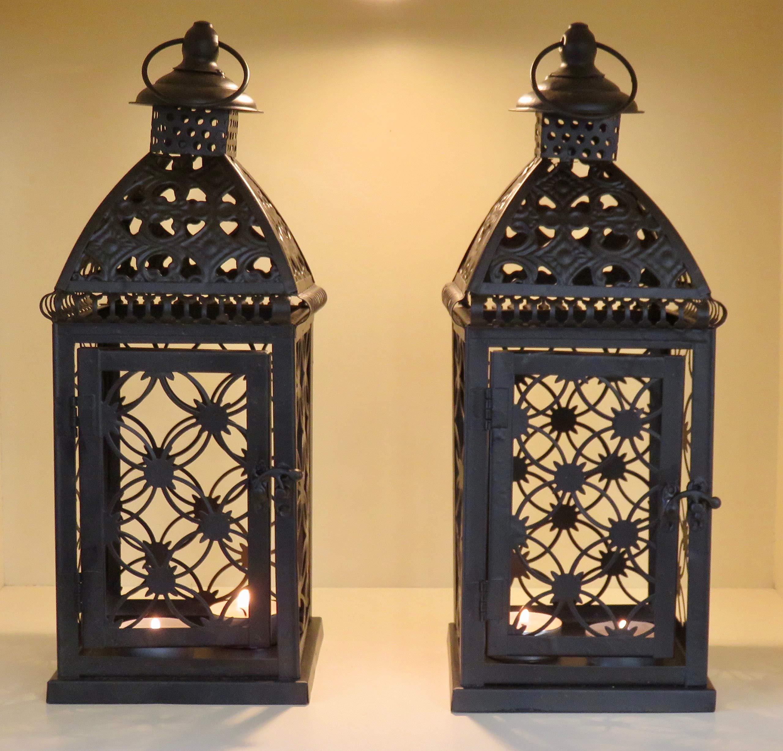 Interior Exterior Negro Dise/ño marroqu/í Set de 2/farolillos de metal no cristal no rupturas