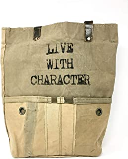 Live With Character Recycled Army Tent Canvas Unique Tote Bag Handbag Purse Market Tote   Upcycled Ecofriendly