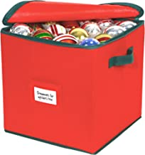 Christmas Ornament Storage –Holiday Organizer Stores up to 64 Christmas Tree Ornaments, Durable Non-Woven Polypropylene, Adjustable & Convenient Organizing Solutions for the Most Cherished Decorations