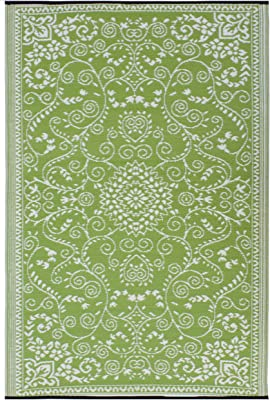 Fab Habitat Murano Recycled Plastic Rug, Lime Green & Cream, ...