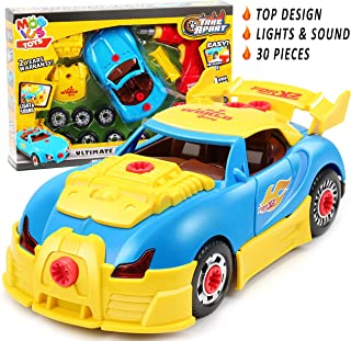 Take Apart Toy Racing Car - 30 Pcs Race Car STEM Car Toys with Drill Tool, Lights and Sounds for Kids - Construction Toy Kit for Boys and Girls Aged 3 4 5 6 7 8 Years Old