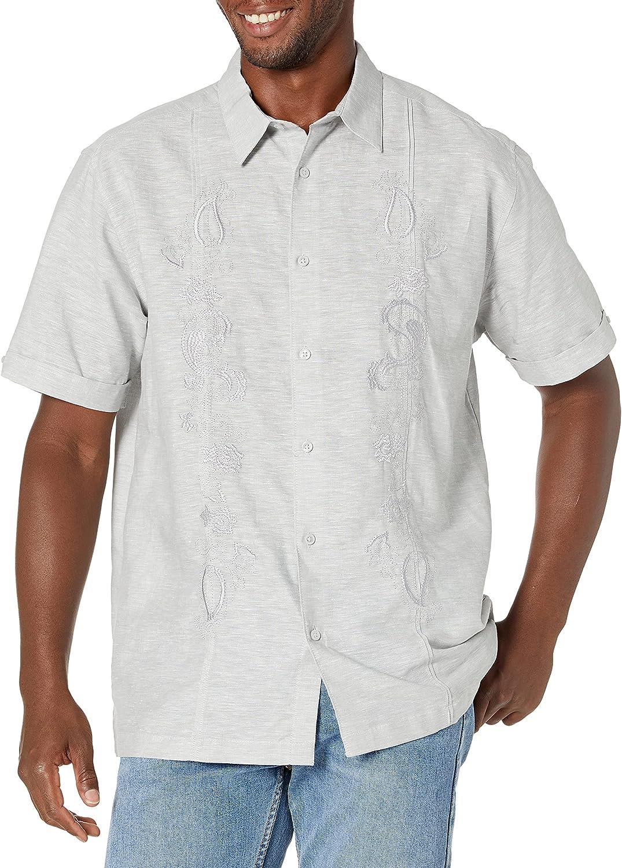 Cubavera Men's Paisley Embrroidered Slee Linen-Blend Department store Panel Short wholesale