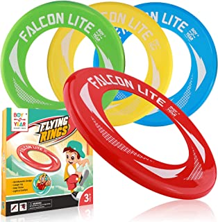 4-Pack Falcon Lite Flying Disc Rings-2019 Hot Outdoors Game,Beach Games,Water-Summer Toys for Kids-Outdoor Gifts & Best Gift for Teen Boys,Girls & Adults