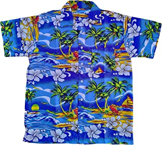 Hawaiian (Aloha) Shirt by Caroma (Blue/Red/Orange/Turquoise)