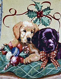 Tache Adorable Puppy First Christmas Festive Pets Dogs Warm Decorative Woven Tapestry Throw Blanket, 50