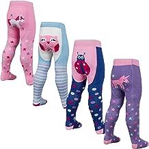 Metzuyan 2 3 4 Pack Babies Girls Tights Cotton Rich Anti Slip Grips Unicorn Owl Ladybird Patch Panel 0-24M