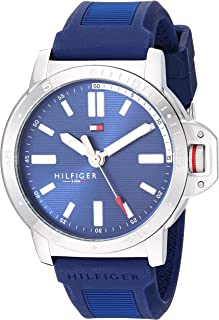 Tommy Hilfiger Men's Stainless Steel Quartz Watch with Silicone Strap, Blue, 20.6 (Model: 1791588)