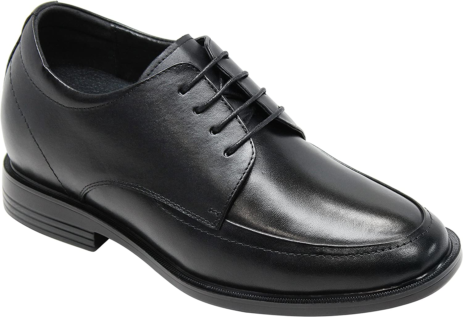 CALTO Men's Invisible Height Increasing Elevator Shoes - Black Premium Leather Lace-up Lightweight Formal Oxfords - 3 Inches Taller - T51302
