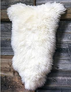 Tapis En Peau De Mouton Fourrure Véritable Pour La Chambre ESZ (Blanc, 130 cm)