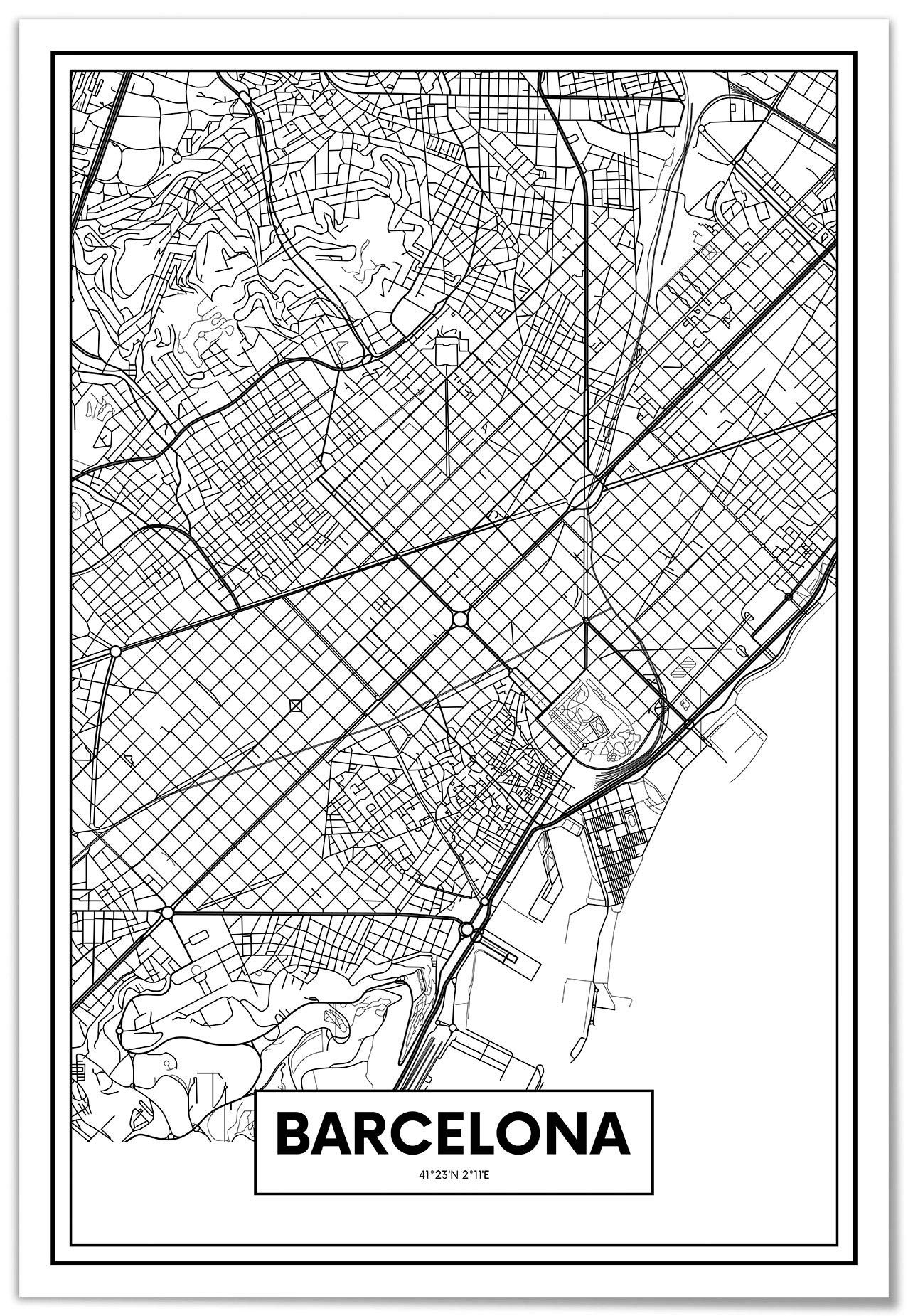 Panorama Lienzo Mapa de Barcelona 50x70cm - Impreso en Lienzo Bastidor - Cuadros Modernos Decoración Salón - Cuadros para Dormitorio - Cuadros Lienzos Decorativos: Amazon.es: Hogar