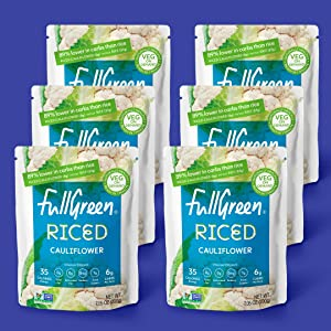 NEW: Fullgreen Cauliflower Rice - 100% Cauliflower, no preservatives, non-GMO, Vegan, 89% lower carbs than rice - 1 x case of 6 pouches - made in the USA - exclusive take home case