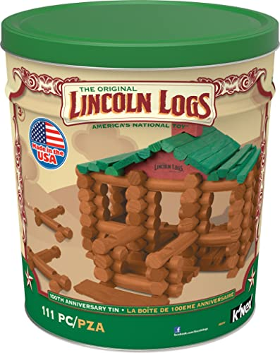 LINCOLN LOGS –100th Anniversary Tin-111 Pieces-Real Wood Logs-Ages 3+ - Best Retro Building Gift Set for Boys/Girls -...