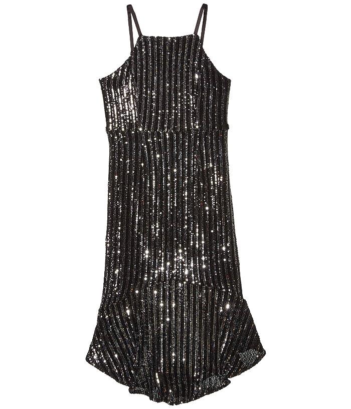 60s 70s Kids Costumes & Clothing Girls & Boys Bardot Junior Sara Sequin Dress Big Kids BlackSilver Girls Clothing $65.99 AT vintagedancer.com