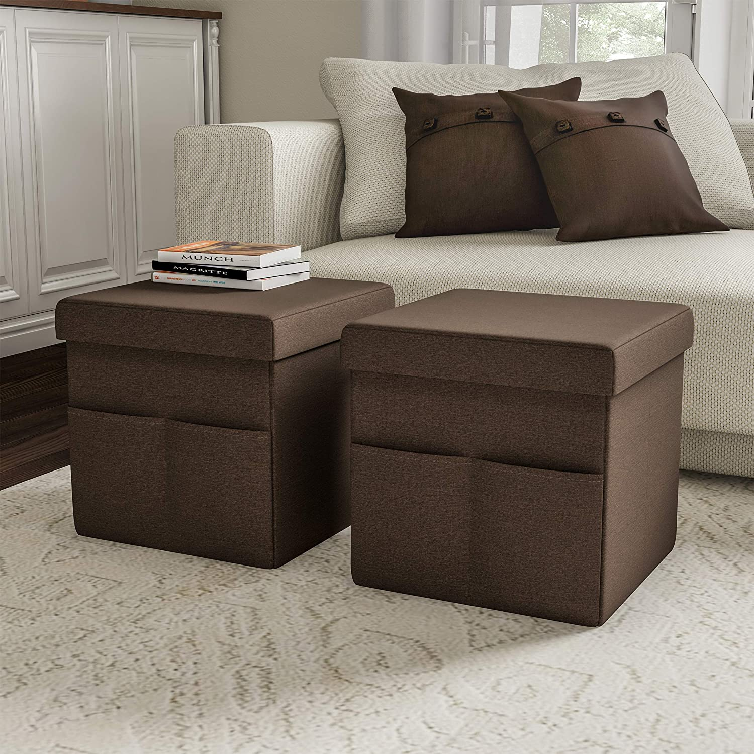 Lavish Large-scale sale Home Foldable Storage Cube Ottoman – Mu Pockets Safety and trust with