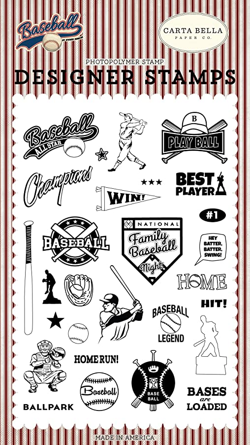 Carta Bella Paper Company CBBA95041 Baseball All Star Set Stamps Brown, red, Blue, Navy, Green, Yellow
