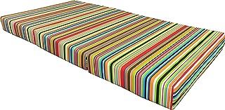 D&D Futon Furniture Multi Color Stripes Full Size Shikibuton Trifold Foam Bed, Density 1.8 lbs, Floor Foam Folding Mattresses 6x54x75