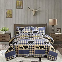 Plaid Bedspread Set Twin Size Rustic Bedding Lodge Quilt Set Bear Bedding Blue White Plaid Patchwork Coverlet Country Quil...