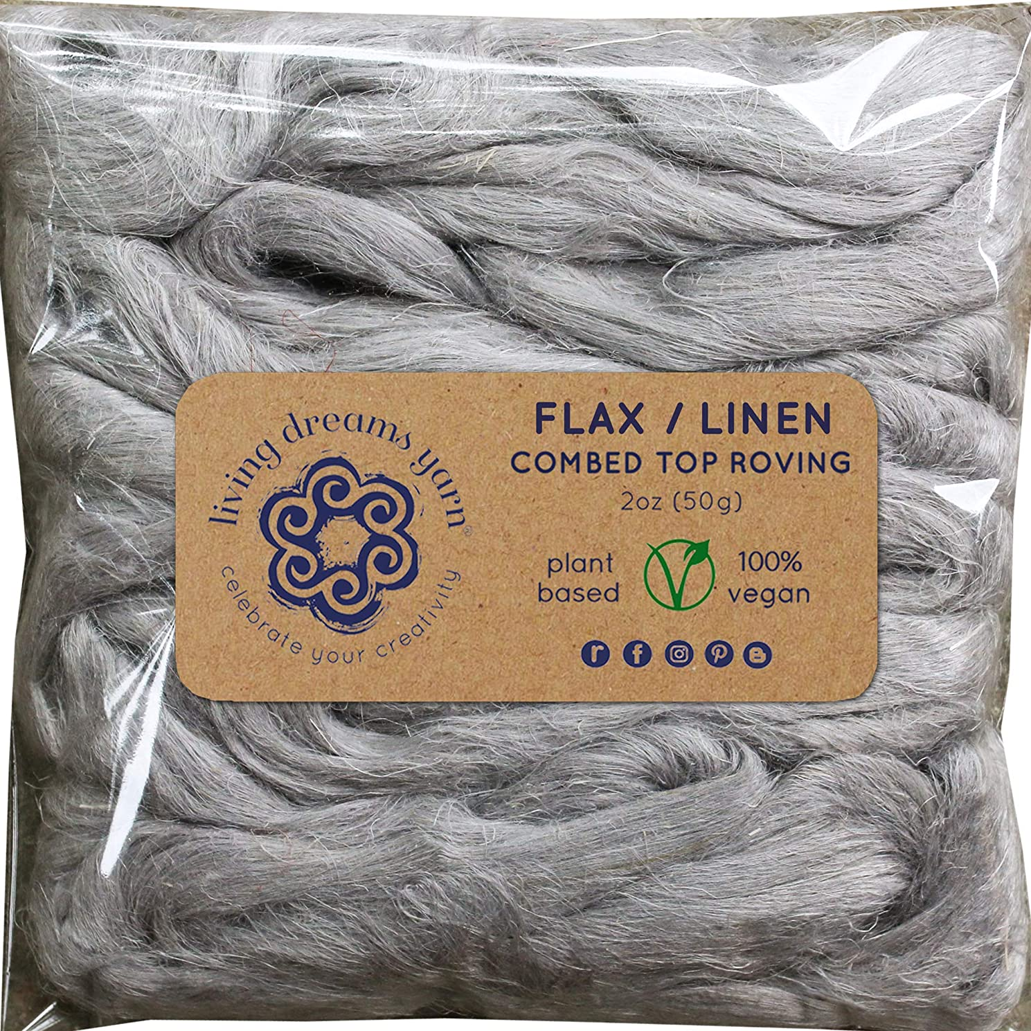 Flax Fiber for Spinning, Blending, Fiber Arts. Natural Vegan Combed Top. Silver