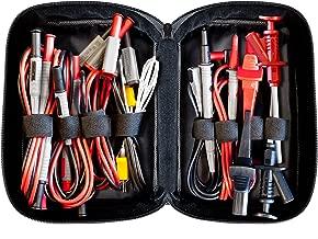 Peak Tech P 8200 - Juego de medición todo en uno, set accesorios medida, para multímetros y fuentes, rango electrónico, cables laboratorio, accesorios, conectores, a pilas - 14 piezas, incluye bolsa