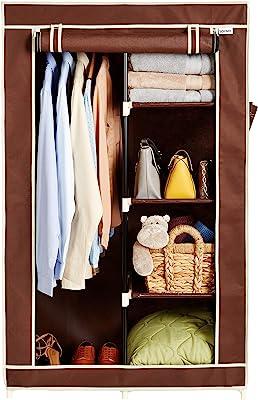 Amazon Brand - Solimo 2-Door Foldable Wardrobe, 5 Racks, Brown