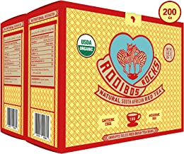 Rooibos Tea Organic Tagless Teabags - 200 Non GMO Naturally Caffeine Free South African Red Bush Herbal Tea Bags By Rooibos Rocks - USDA Organic Rooibos Teas, A Taste of Africa - Feel the Goodness