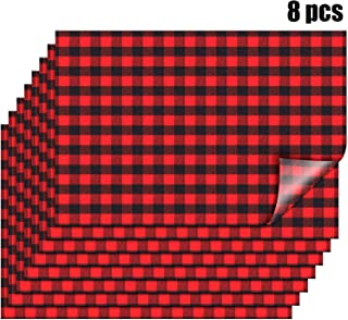 8 Sheets 18 x 12 Inch Buffalo Plaid Heat Transfer Vinyl Patches Christmas Red Black Check Vinyl Sheets Flannel Adhesive Iron on Vinyl Patches for Clothes (Color 2)