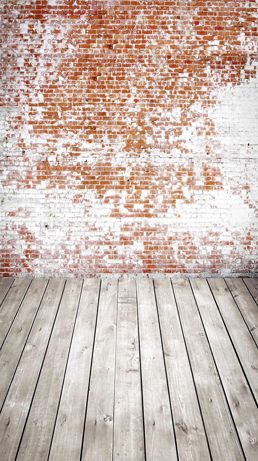 Muzi Photography Backdrops Colorful Brick Wall Photo Background for Studio Prop Dark Grey Wood Floor Photoshooting Wallpaper 170x315cm XT-6400